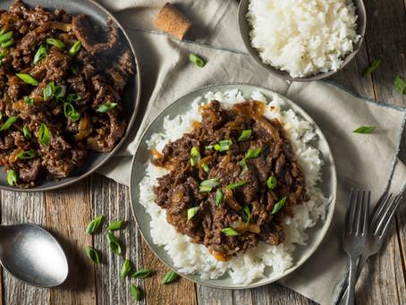 Korean Beef, Scallion Pancakes, pan glazed zucchini, basmati rice