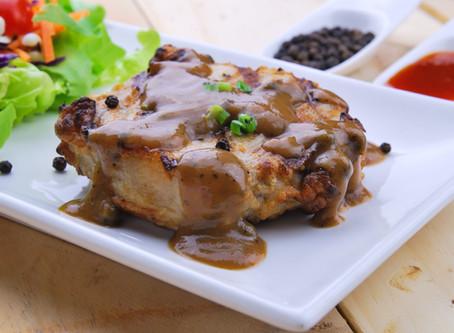Pork Chops with RedEye Gravy, garlic basmati rice, oven roasted broccoli