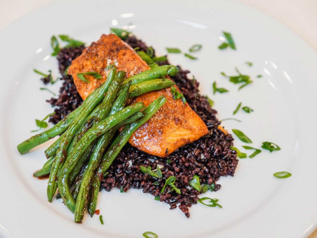 Asian-Inspired Sockeye Salmon with Black Rice and Spicy Haricot Vert Green Beans