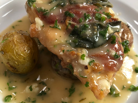 Chicken Saltimbocca with Lemon Herb Sauce, Roasted Rosemary Potatoes and Salad with Vinaigrette