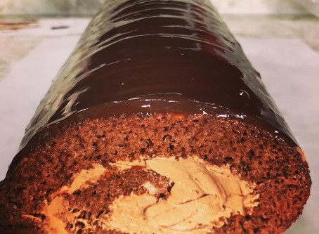 Chocolate Sponge Swiss Cake Roll, mocha buttercream, ganche glaze