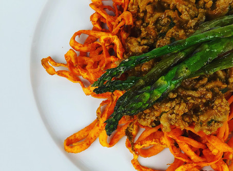 "Tandoori Spiced Ground Turkey with Sweet Potato ""noodles"" and Roasted Asparagus"