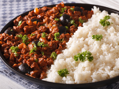 Cuban Picadillo, Abuela's Frijoles Negros, and white rice
