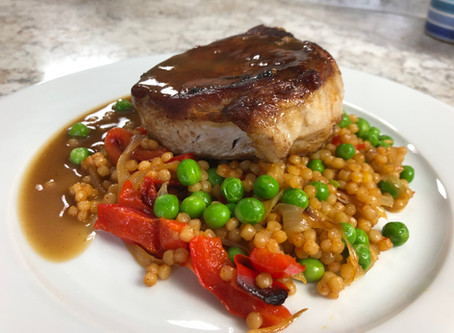 Levant (Lebanese) Spiced Pork Chop with Pan Sauce Israeli Couscous in the Style of Paella