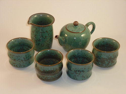Porcelain Peacock Green Tea Set