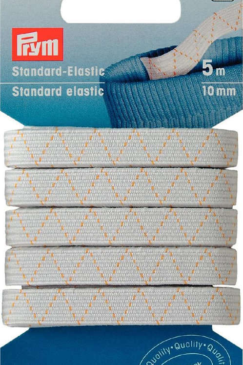 "Elastic ""Standard"" Prym / Gummiband 10mm, Karte mit 5m / Farbe weiss"