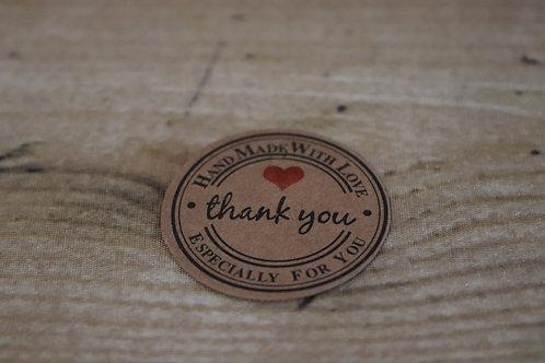 """Etiketten """"Thankyou/HandMade"""" braun/rund, 10 Stk."""