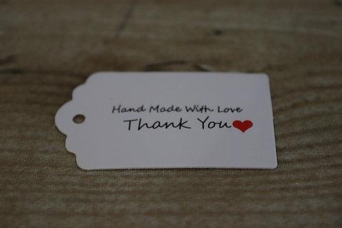 """Etiketten """"HandMade/Thankyou"""" weiss/lang, 10 Stk."""