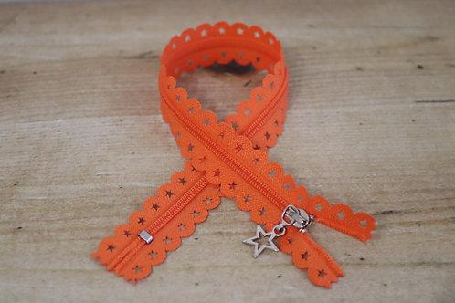 Sternen Reissverschluss 30cm lang / orange