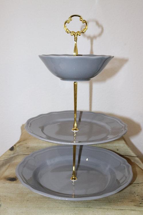 Etagere grau/golden 3-stöckig