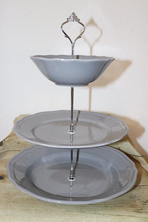 Etagere grau/silbern 3-stöckig