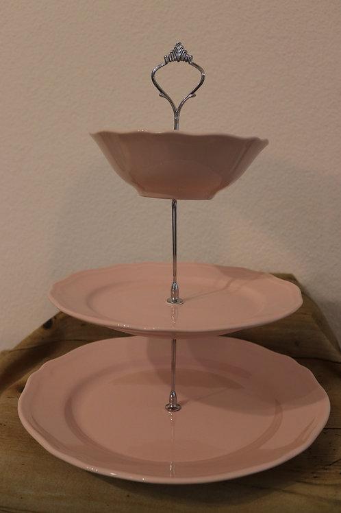 Etagere rosa/silbern 3-stöckig
