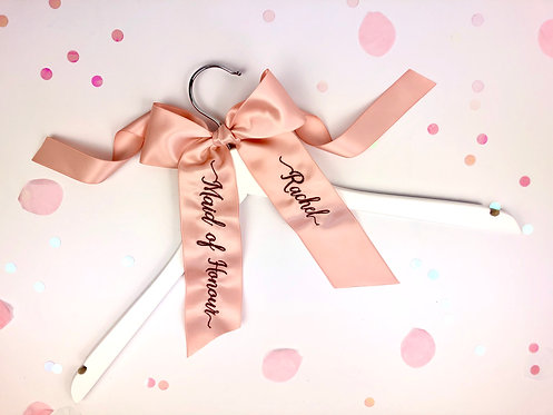 Personalised Embroidered Satin Bow Hangers