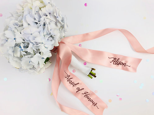 Personalised Embroidered Bouquet Ribbon Tie