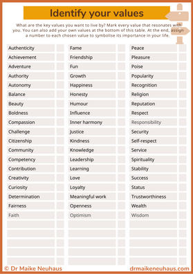 Identify your values