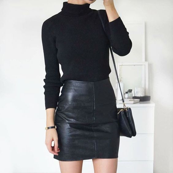 LEATHER-BLACK-SKIRT