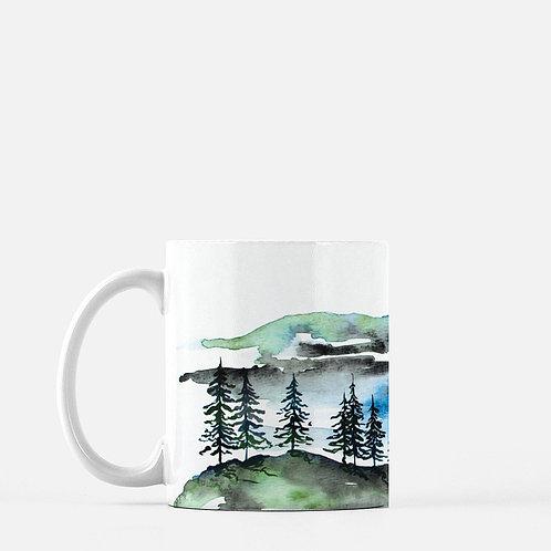 Mountain Peak Watercolor Coffee Mug