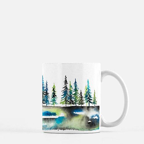 Tree Line Watercolor Coffee Mug