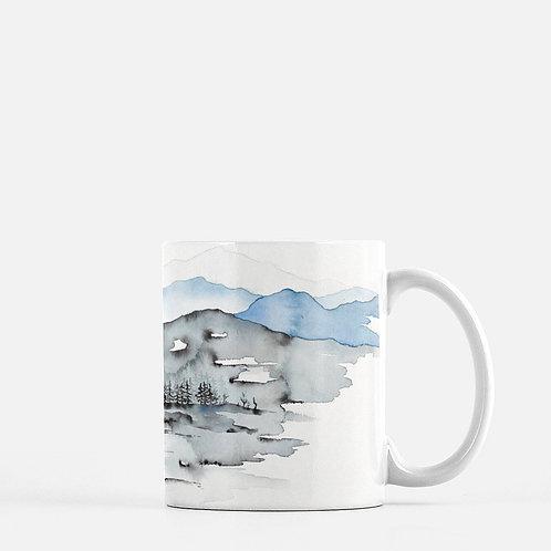 A Mountain View Watercolor Coffee Mug