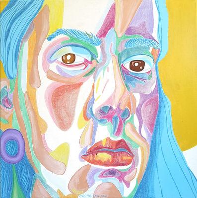Blue portrait canvas painting