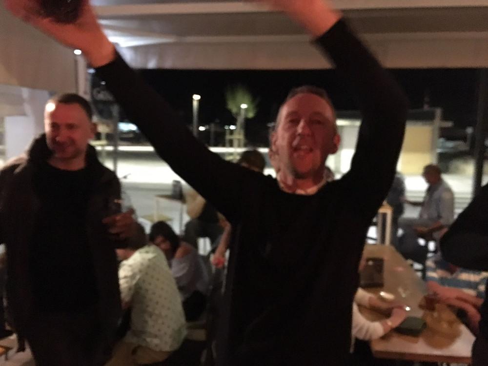 New Malden Velo, post ride dancing in Mallorca