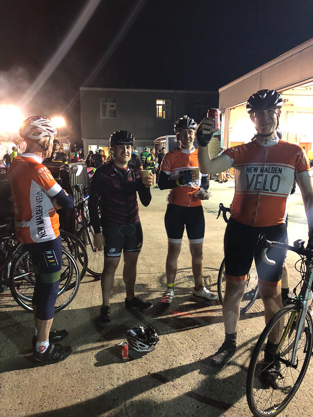 Dunwich Dynamo ride for New Malden Velo cycle club, stop at Sudbury fire station