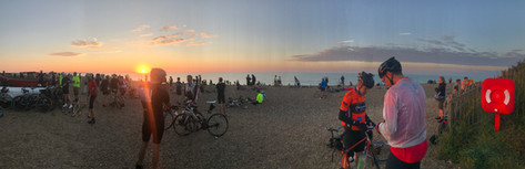 Sunrise on the Dunwich Dynamo finish.