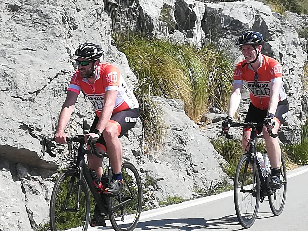 Ben And Iain, members of New Malden Velo, enjoying the sunshine and cycling in Mallorca