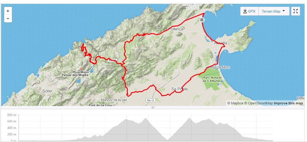 Route for Sa Calobra loop