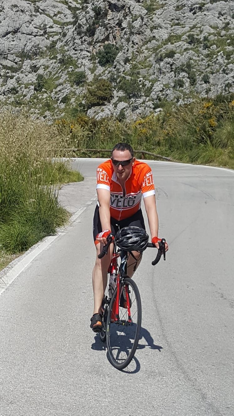 Jeff, cycling Sa Calobra, Mallorca, New Malden Velo