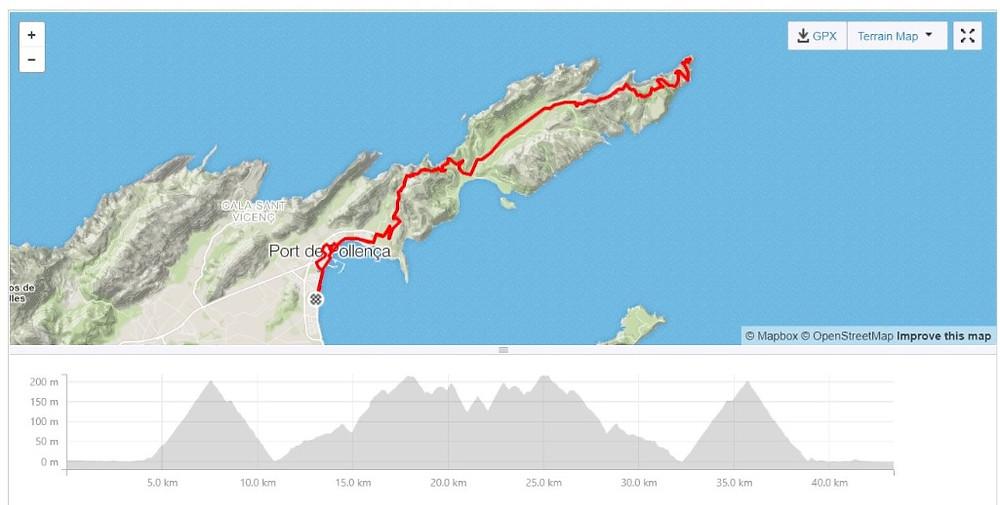New Malden Velo Cap de Formentor route map, Mallorca