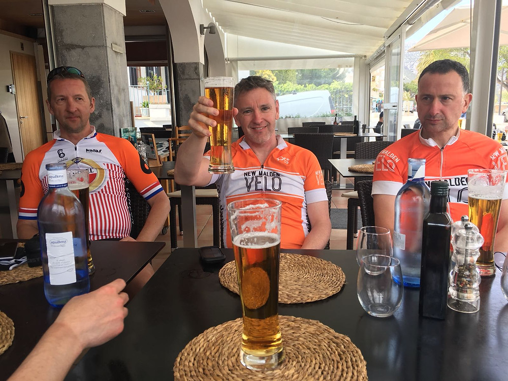New Malden Velo well earned beers in Mallorca