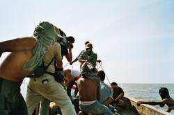 Dreharbeiten mit Piraten