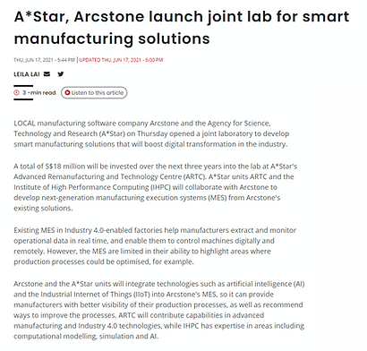 A*Star, Arcstone launch joint lab for smart manufacturing solutions