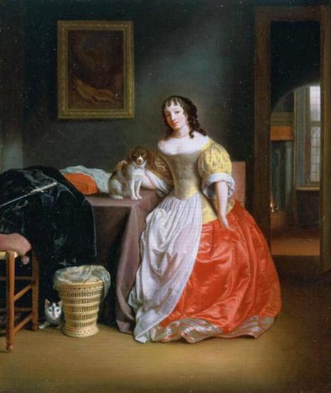 Дама в желто-красном платье