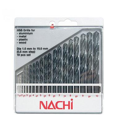 [Nachi] Khoan bộ 1mm-10mm (19 pcs)