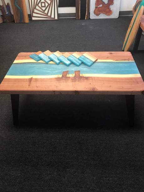 Resin Redwood Table - Matching Coasters