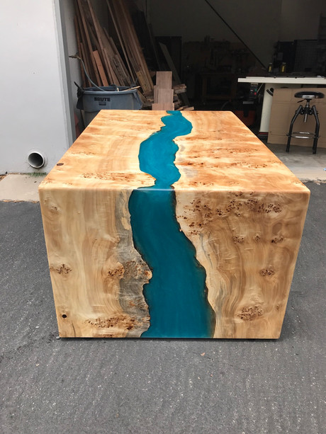 Mappa waterfall table with resin river.