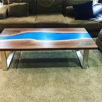 Custom walnut coffee table.