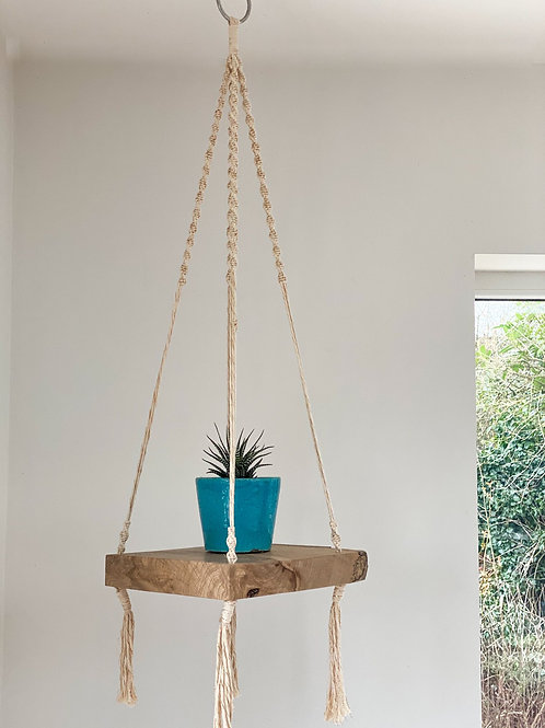 Macrame Hanging Shelf with Cream & Gold String