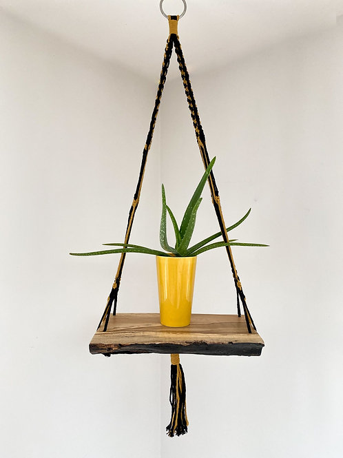 Macrame Hanging Shelf with Black & Mustard String