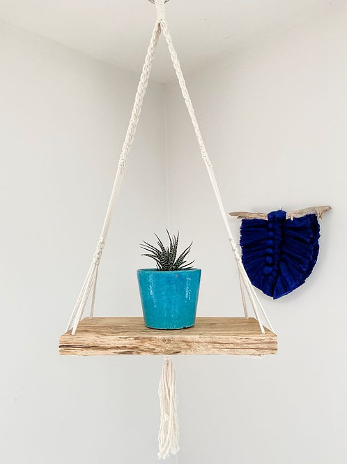 Macrame Hanging Shelf with White String