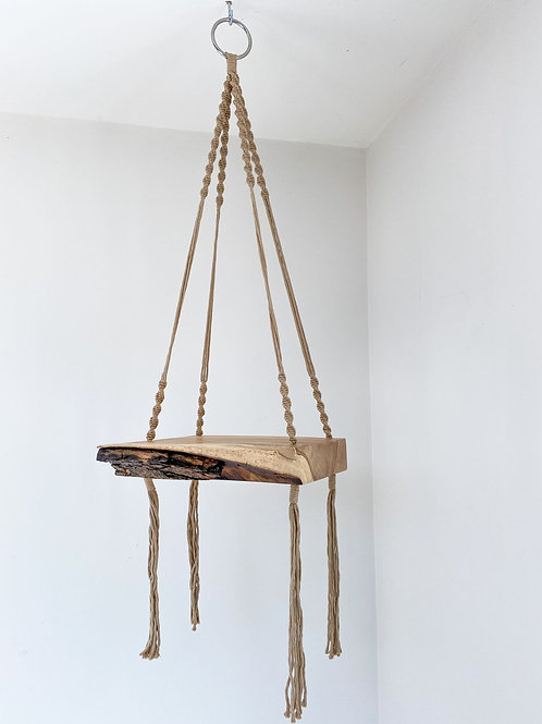 Macrame Hanging Shelf with Beige String