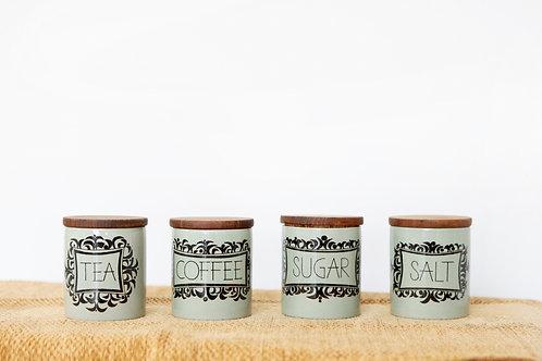 Vintage Coffee Tea Sugar Salt Kitchen Canisters