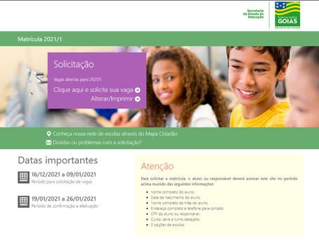 Matrículas para novos alunos na rede estadual começa hoje, em Goiás