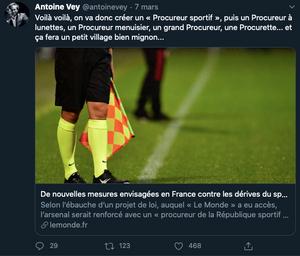 Antoine Vey ironisant sur l'annonce de la création d'un nouvel parquet spécialisé sur les infractions liées au droit du sport
