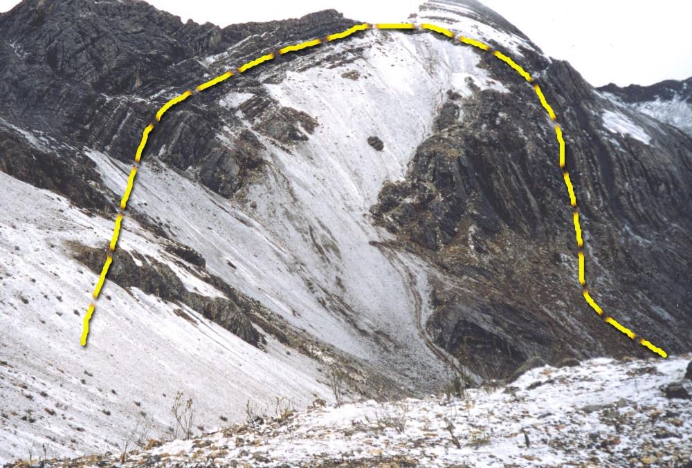 Formación geológica en los Andes del Peru