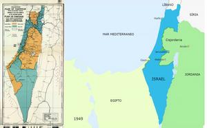 Partición Palestina mandato británico y Israel después de la guerra de 1948