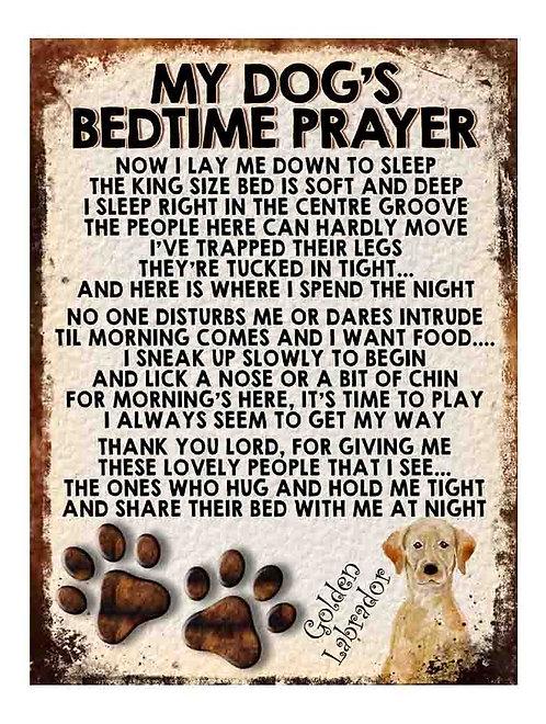 Golden Labrador Gift My Dogs Bedtime Prayer Retro Metal Sign / Fridge Magnet