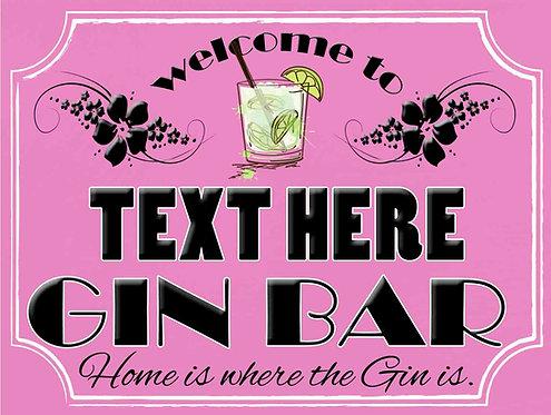 Gin Bar Sign Personalised, Retro Metal Sign